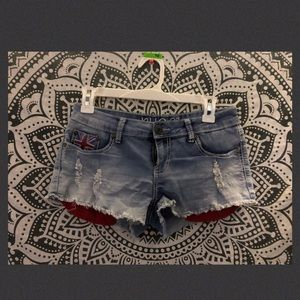 Blue jean short shorts